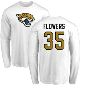 Dimitri Flowers Jacksonville Jaguars Youth White Name & Number Logo Long Sleeve T-Shirt -