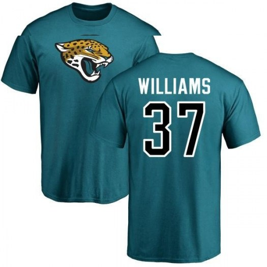 Marquez Williams Jacksonville Jaguars Men's Teal Pro Line Name & Number Logo T-Shirt -